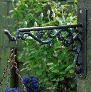 Antique Cast Iron Hanging Basket Hooks Hanger Plant Wall Garden Lantern Bracket
