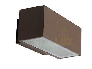 Applique lampada per esterno moderno rustico rettangolare alluminio