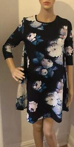 RIVER ISLAND Robe Femme Mini A-ligne Imprimé Floral Noir Mix Taille UK 8 Bnwt