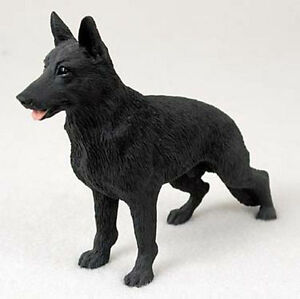 German-Shepherd-Hand-Painted-Collectible-Dog-Figurine-Statue-Black