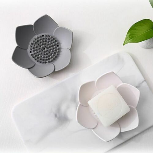 Silicone Bathroom Shower Soap Box Storage Plate Tray Drain Holder Flower Soapbox