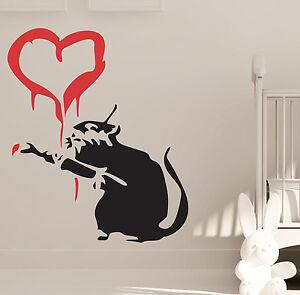Banksy painting rat heart wall art sticker decal ba27 ebay for Banksy rat mural