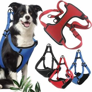 Dog-Pet-Adjustable-Vest-Harness-No-Pull-Nylon-Small-Medium-Large-Reflective-Vest
