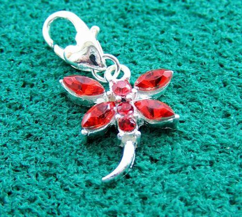Libélula con Cristales Rojos clip en pulsera con dijes caja de regalo gratis