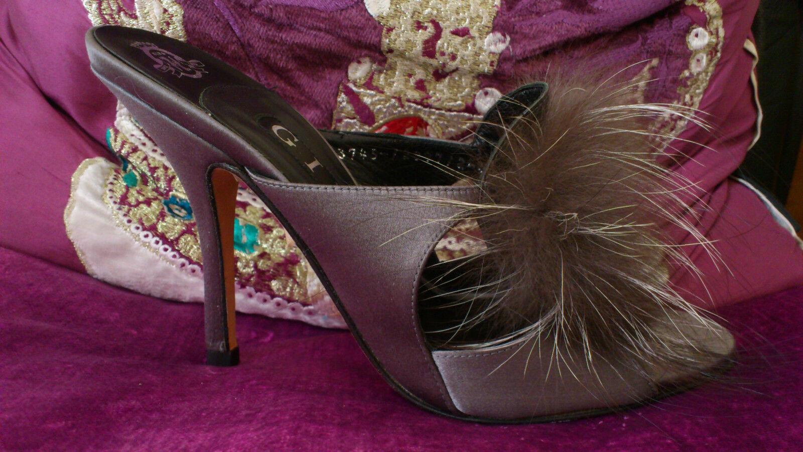 liquidazione Gina Cinquanta sfumature di grigio grigio grigio in Satin e Diamante Pelliccia Tacco Alto Sandalo Scarpe TAGLIA 3 36  scelta migliore