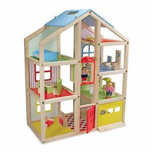 Melissa & Doug Hi-Rise wooden dollhouse figures & furniture playset maison de poupées