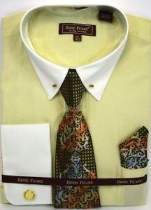 4f9b9354d9d Men s Dress Shirt Tie Hanky Set Olive Green Off White Cuff Links ...