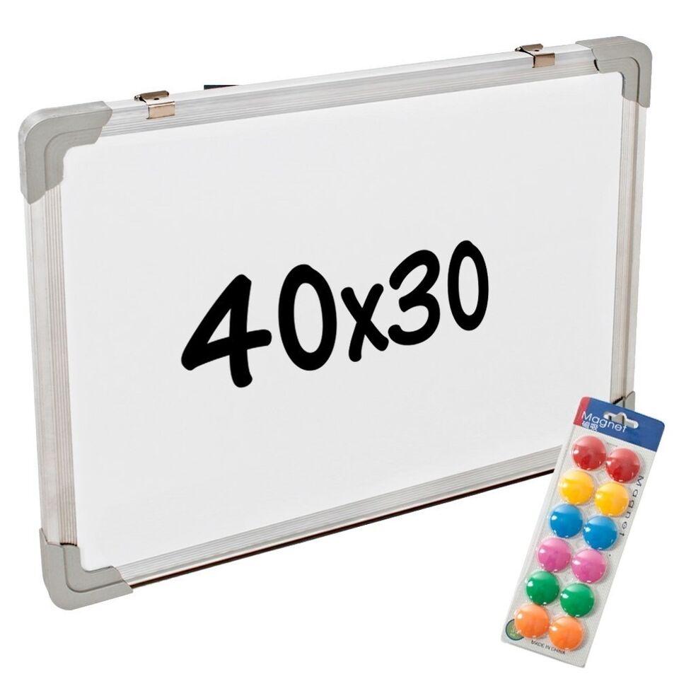 Whiteboard magnettavle + 12 magneter 40 x 30 x...