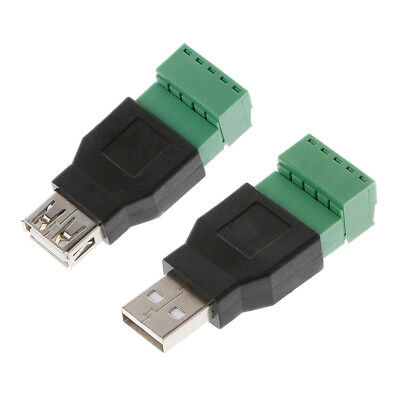 10x USB 2.0 Type A Male to 5 Pin Screw w// Shield Terminal Plug Adapter Connector