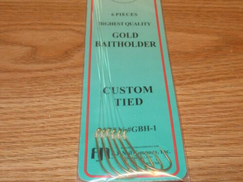 24 PKS SIZE 1 SNELLED GOLD BAITHOLDER HOOKS 144 SALTWATER FISH HOOKS GBH-1