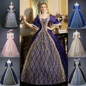 Details zu Damen Mittelalterlich Renaissance Barock Kleid Viktorianisch Maskerade Kostüm