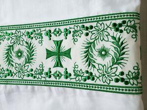 Vintage-Alba-Irlandes-Lino-Traje-Bordado-Banda-Orphrey-Verde-Cruz-Grande-2