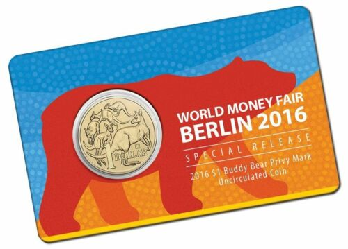 2016 Australian $1 World Money Fair Buddy Bear 1 One Dollar Carded Coin