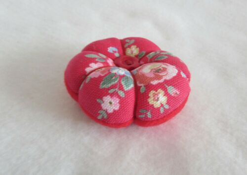 MINI CATH KIDSTON fabric red SPRAY FLOWERS flowerstyle pin cushion MOTHERS DAY