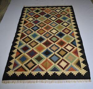 Hand Woven Wool Area Rug Persian Flat