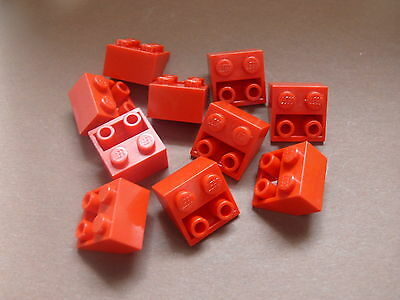 10 red slope inverted 45° 1 x 2 Lego 10 pieces rouges inclines inversees