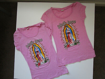 RARE PINK TACO Virgin Mary T-Shirts Womens S-XS PINK Hard Rock Cafe - Lot of 2