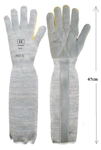 MIDAS Industrial Extended Long Cuff Leather Palm Gloves Sz:10 /XL P218ELP 1 pair
