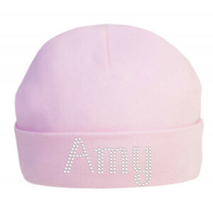 7c62cefc3 Details about Personalised Baby Cotton Hat in Crystals 100% Cotton super  soft newborn hat Xmas