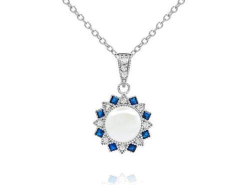 Platinum Sterling Silver Vintage Design Blue /& White Sapphire Halo Necklace Gift