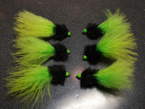 Cats Whisker Blob Hot Head Jelly Fritz leurre truite mouche Buzzer Lure Lot de 6