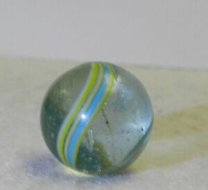 #10813m Vintage End Of Cane German Handmade Clear Glass Indian Marble .66 Inches