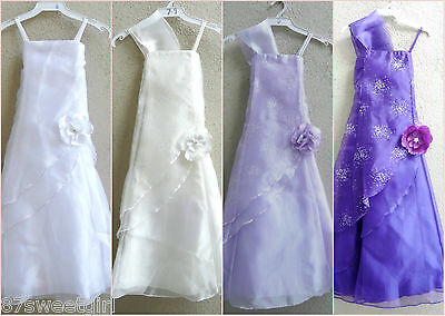 Elegant white ivory black purple  easter communion party flower girl dress