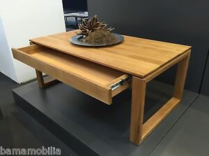 Couchtisch Wildeiche Massiv Holztisch Mit Schublade 110 X 60 X 45