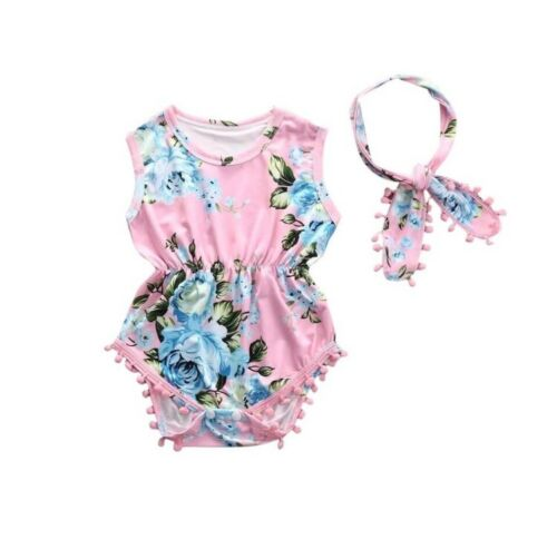 Pink Baby Girl Floral Romper Baby Clothes 6-12 Months