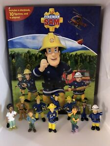 FIREMAN-SAM-BUSY-BOOK-10-FIGURES-AND-A-PLAYMAT-CAKE-TOPPERS-BN-FREE-P-P