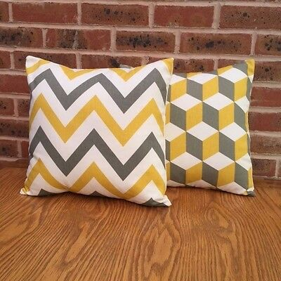 """Cushion Cover Sofa Pack of 2 x Yellow and Grey Geometric 16"""""""