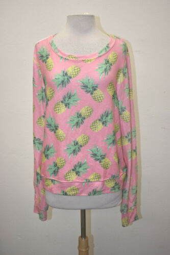 WILDFOX WOMENS PINEAPPLE PARADISE SWEATSHIRT PINK WF RARE PRINT SOLD OUT NEW ***