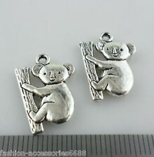 12pcs Tibetan Silver CUTE Koala Charms Crafts Pendant Jewelry 14x19mm