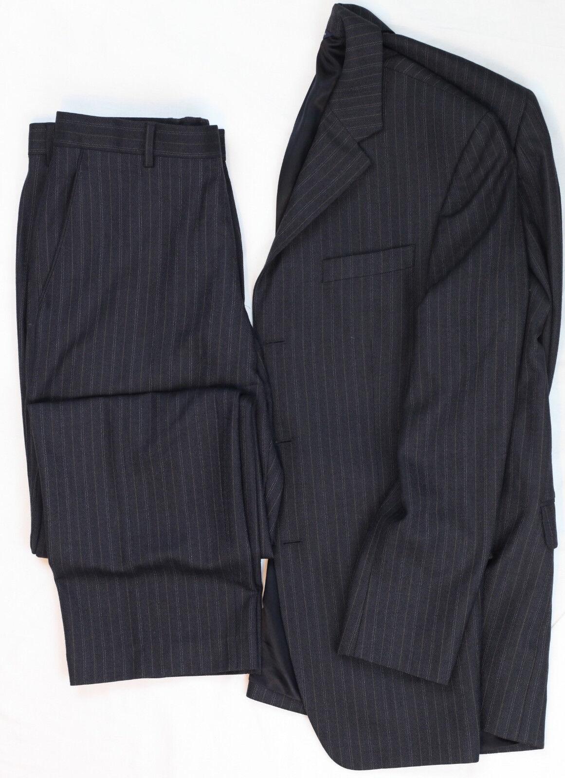 Banana Republic 3 Button Flat Front Pant Modern Fit Braun Striped Wool Suit 40R