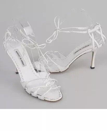 fantastica qualità MANOLO BLAHNIK bianca bianca bianca Leather Sandals  molte concessioni
