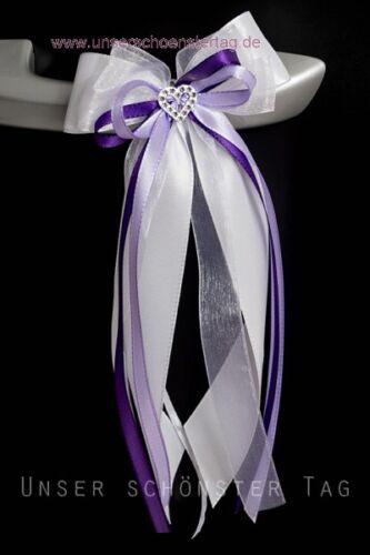 10 Antennenschleifen Autoschleife Autoschmuck Hochzeit SCH0010 flieder lila