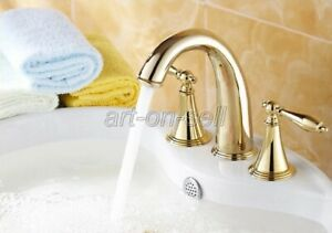 Luxury-Gold-Color-Brass-Bathroom-Vanity-Sink-3-Hole-2-Handles-Widespread-Faucet