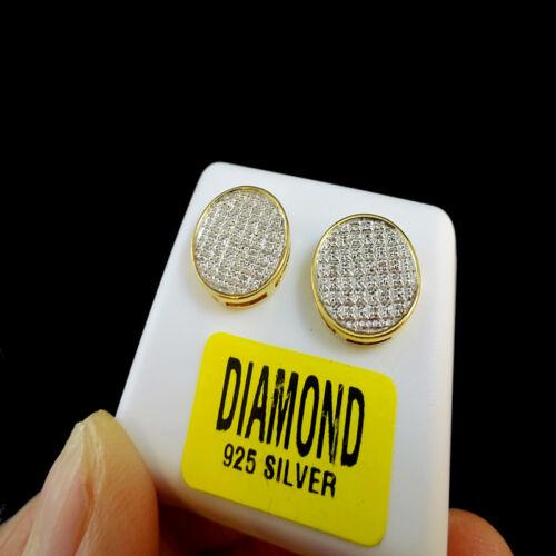 GENIUNE DIAMOND MENS LADIES CIRCLE DESIGNER 14K YELLOW GOLD FINISH FINE EARRINGS