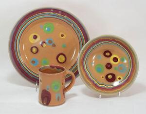D-Lasser-Ceramics-Saturn-Orange-3-Pieces-Handmade-Plate-Bowl-Mug-Vermont-USA