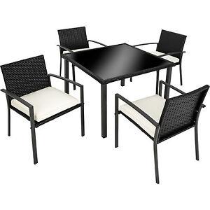 Détails sur Ensemble Salon de jardin résine tressée poly rotin extérieur 4x  chaises table