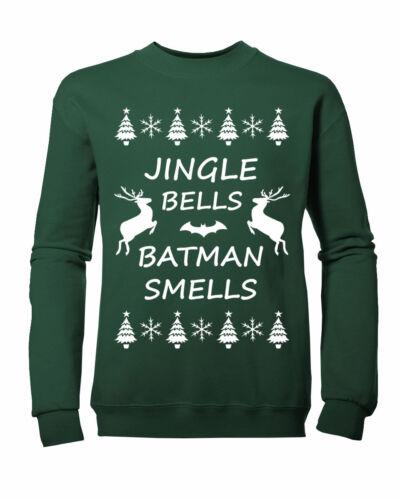 Kids JINGLE BELLS BATMAN SMELLS Christmas Jumper Sweatshirt NEW Ages 3-13yrs