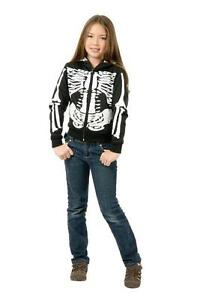 Details About Girlu0027s Skeleton Hoodie Gothic Punk Emo Skull Sweatshirt Child  Halloween Costume