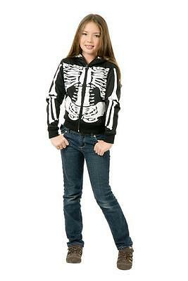 Girlu0027s Skeleton Hoodie Gothic Punk Emo Skull Sweatshirt Child Halloween Costume  sc 1 st  eBay & Girlu0027s Skeleton Hoodie Gothic Punk Emo Skull Sweatshirt Child ...