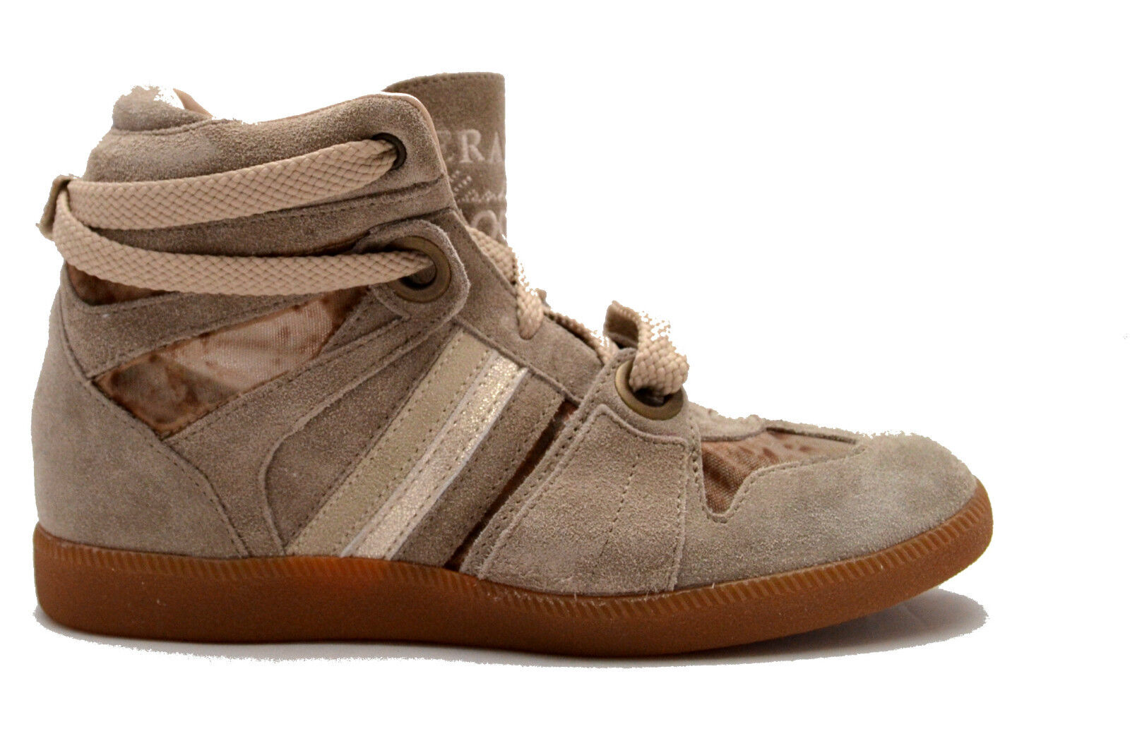 Serafini zapatos zapatillas alte pelle zapatos mujer beige Zeppa interna mujer 2752