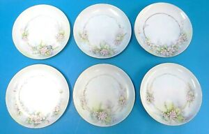 Vintage-Haviland-Limoges-France-Haybou-Hand-Painted-Pink-Flowers-Saucers-Plates
