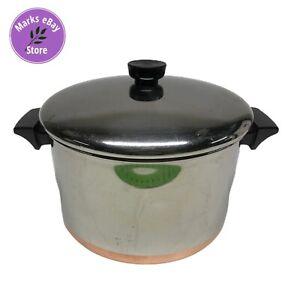 Vintage-Revere-Ware-1970-039-s-6-Quart-Copper-Clad-Stock-Pot-w-Lid