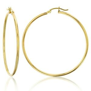 Extra-Large-Real-Stainless-steel-Round-Hoop-Earring-18k-Layered-90mm-2mm