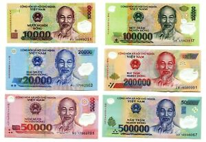 Details about VIETNAM CURRENCY 880000 DONG = 500000 200K 100K 50K 20K 10K  DONG 6 BANKNOTE UNC