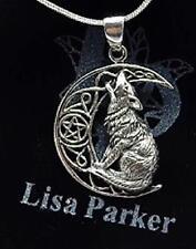 Sterling Silver Wolf on pentagram Moon necklace Lisa Parker Licensed Product