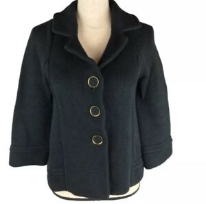 Banana-Republic-Cardigan-Sweater-Coat-Womens-3-Button-Size-Sm-Black-Heavy-Knit